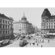 Budapest - Crossroads of Rákóczi street and Grand Boulevard, photograph 1900