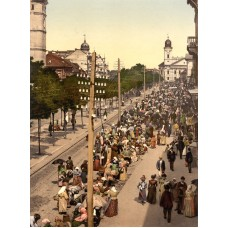 Debrecen - Main Street and market, photo 1900