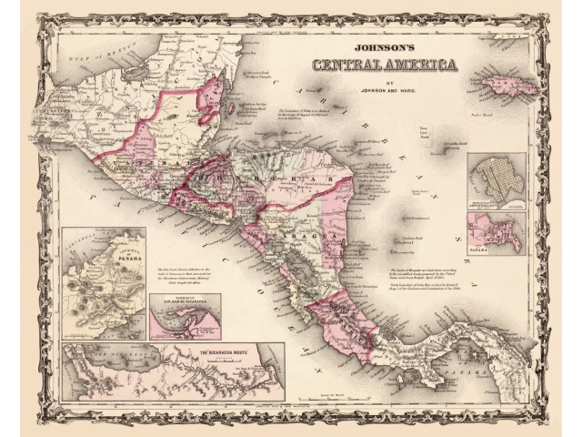 Map of Central Amerika 1862