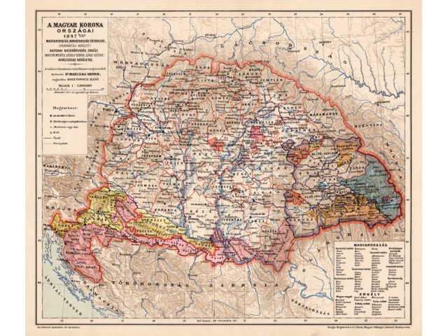 Map of Hungary 1847, published 1898
