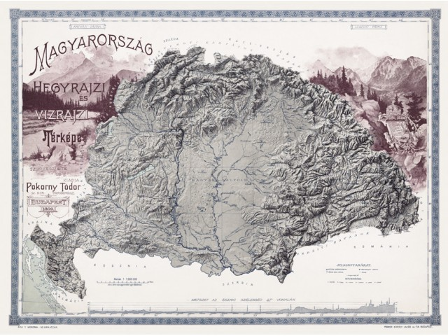 Map of Hungary 1899 (mountain and hydrographic)