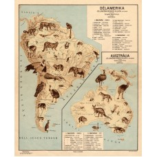 South America and Australia map 1928, animals