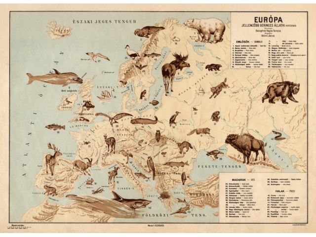 Europe map 1928, animals