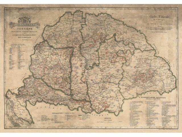 Map of Hungary 1884