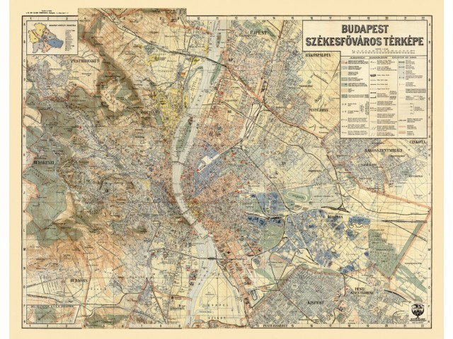 Map of Budapest 1934